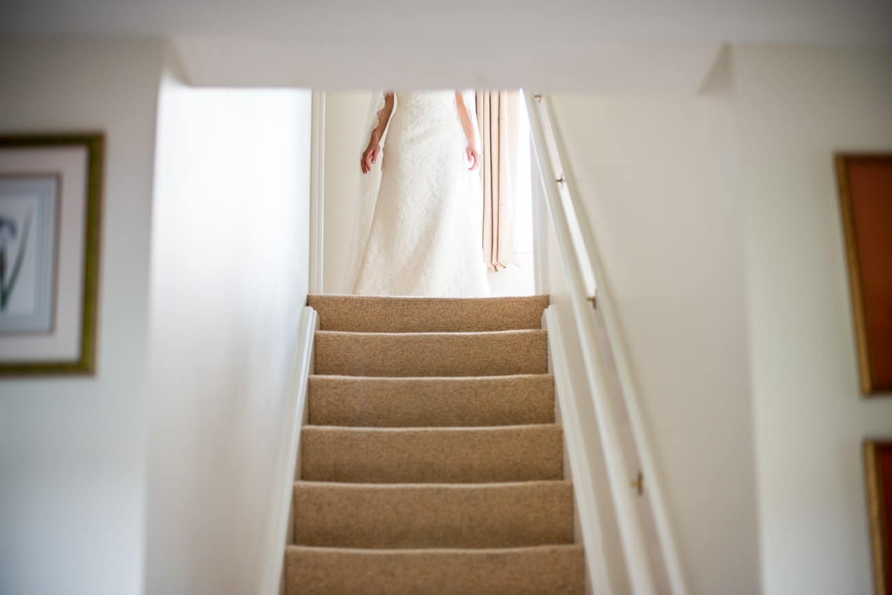 bride at top of stairs