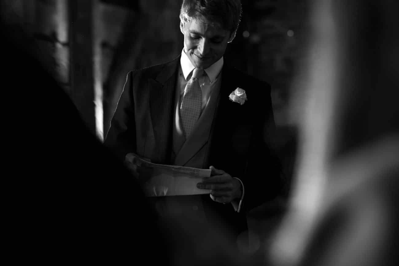 grooms speech in barn