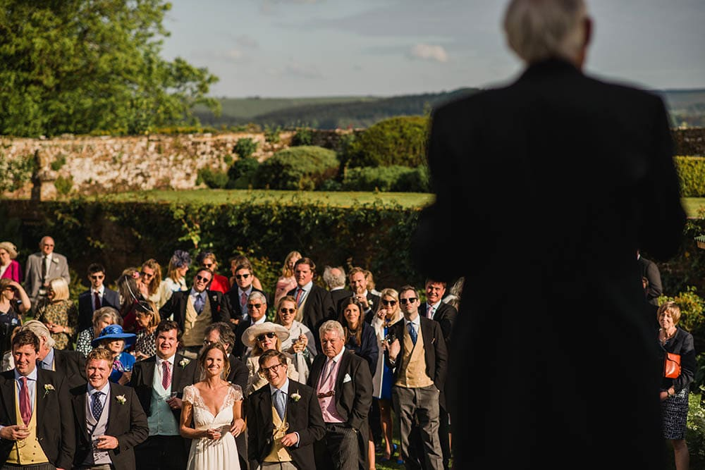 wedding speeches in the gardens of Hatch House