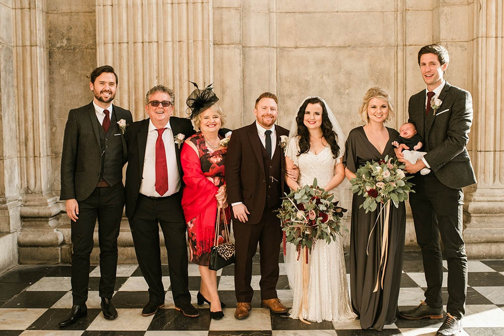 wedding group portraits outside st Pauls cathedral