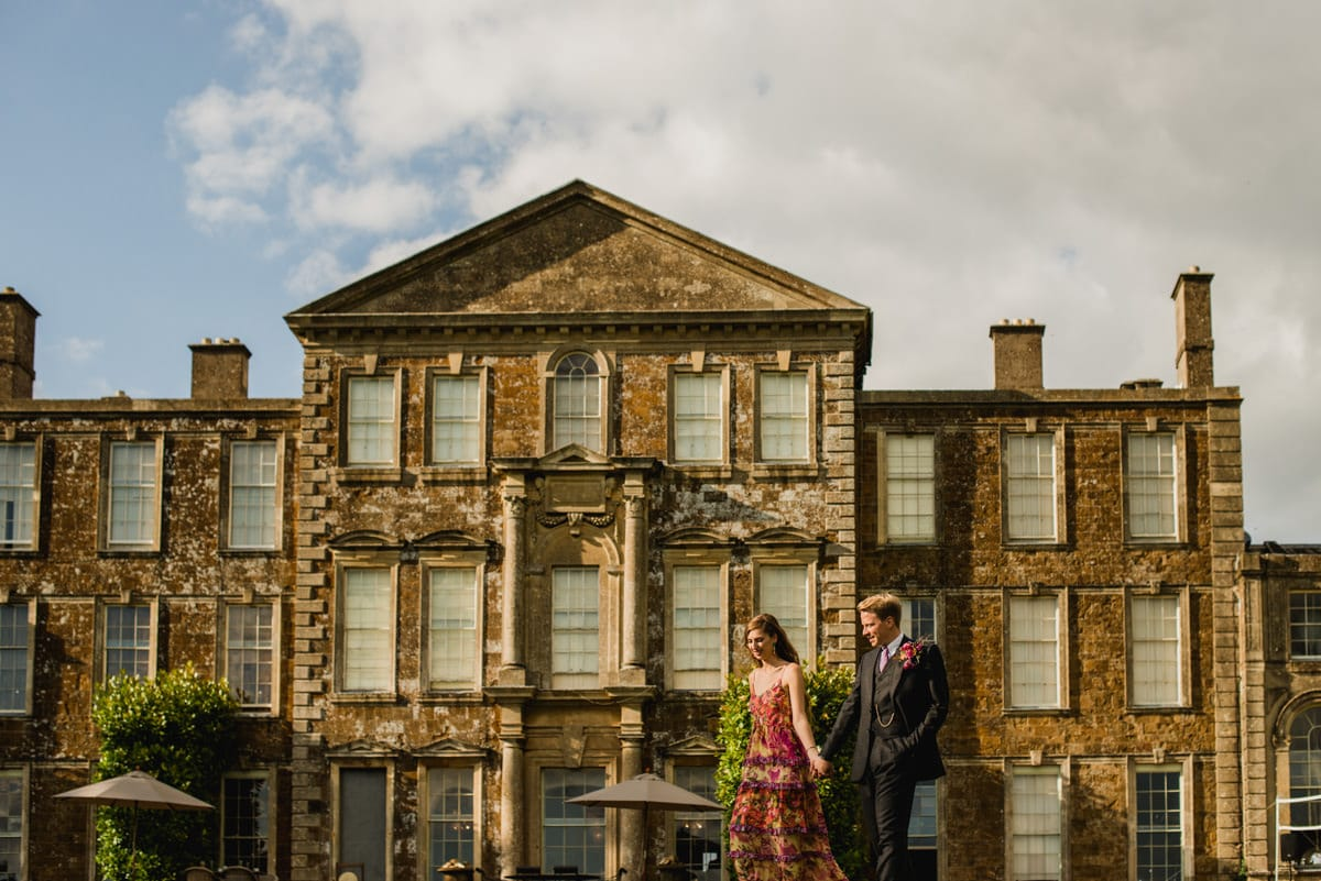 golden hour wedding portraits at Aynhoe Park