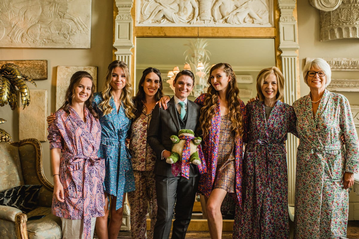 bride and her bridal party wearing Liberty dressing gowns