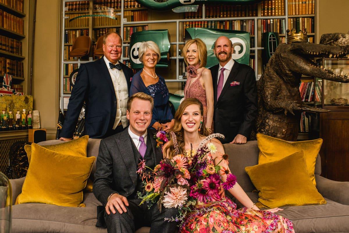 family group shot at Aynhoe Park Wedding