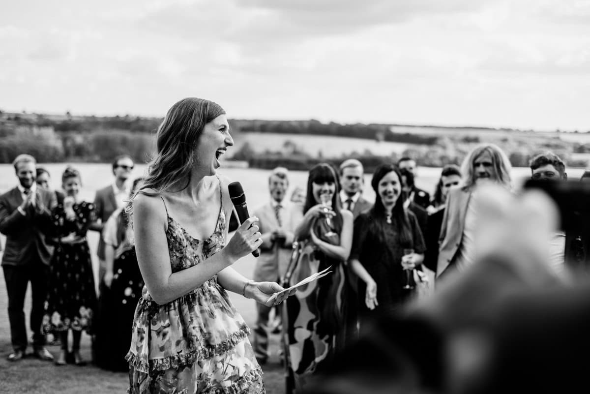 wedding speeches in the gardens of Aynhoe Park