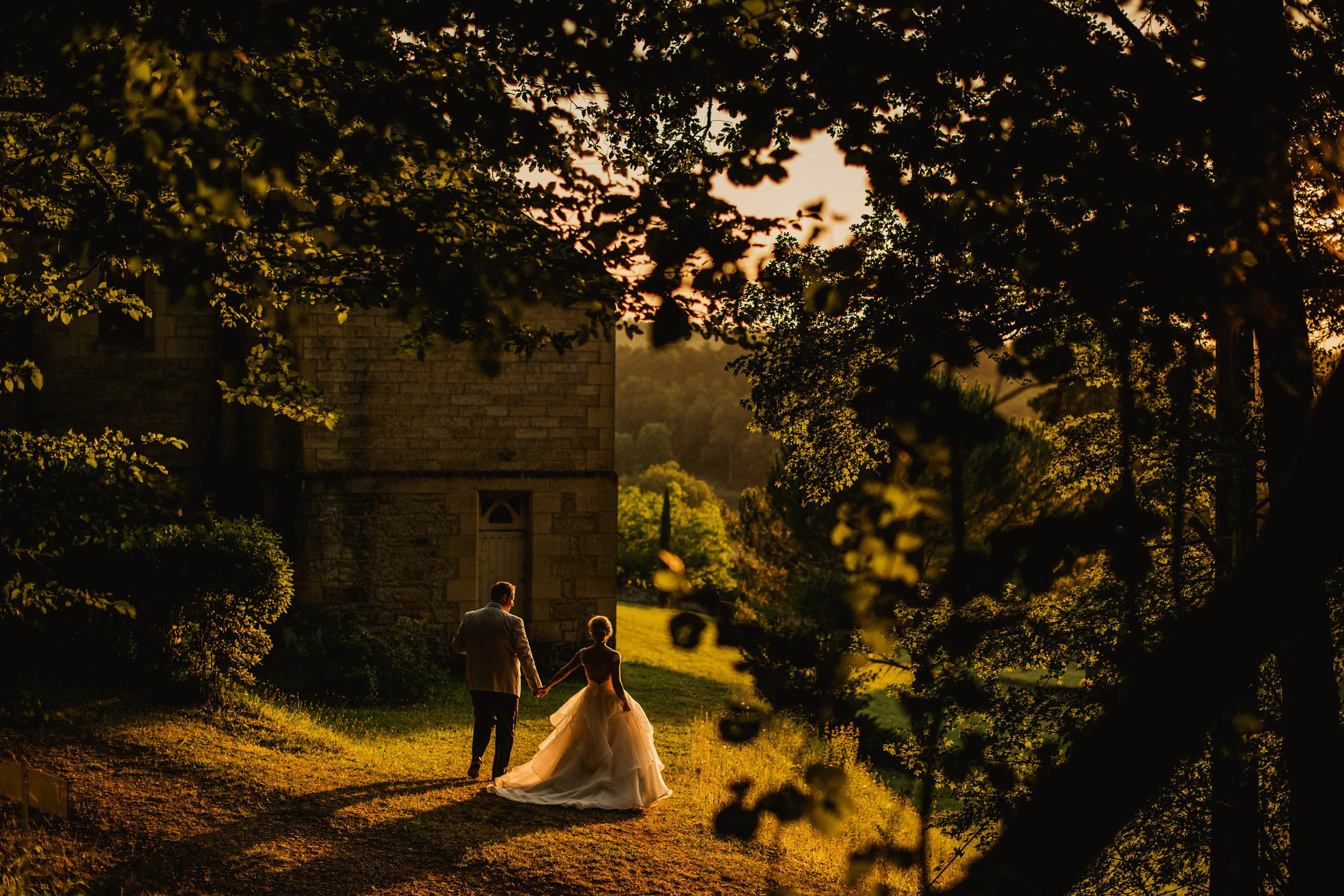 couple outside chapel in France