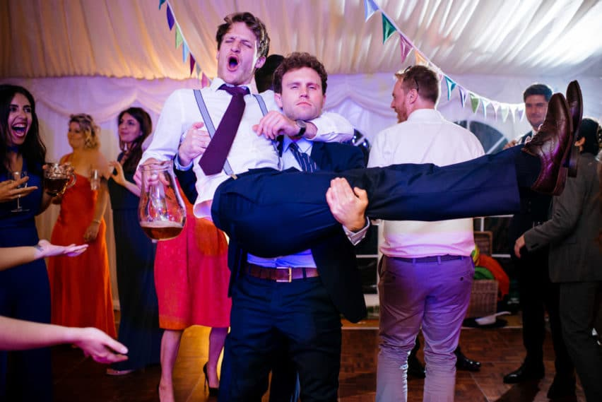 guests partying at wedding