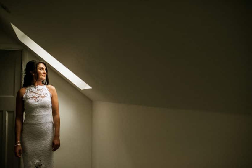 bride under skylight