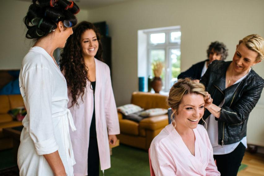 bridesmaid in hair and makeup