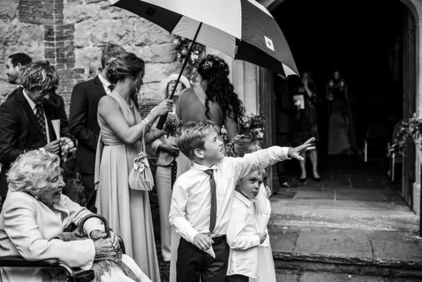 pageboy checking to see if it's raining