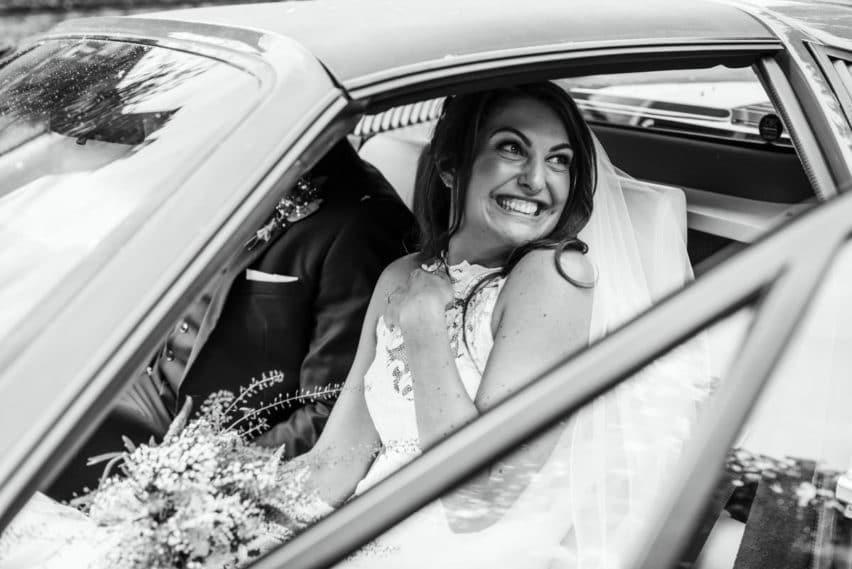 bride in Ferrari