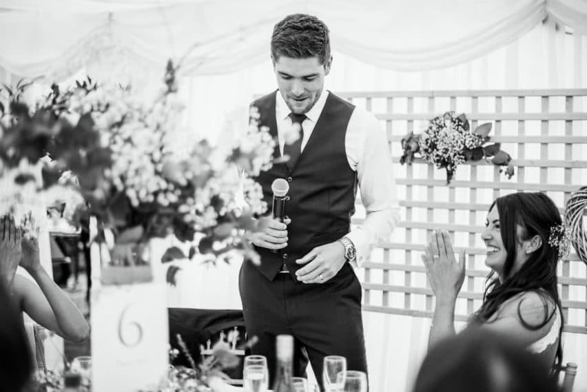grooms speech in marquee