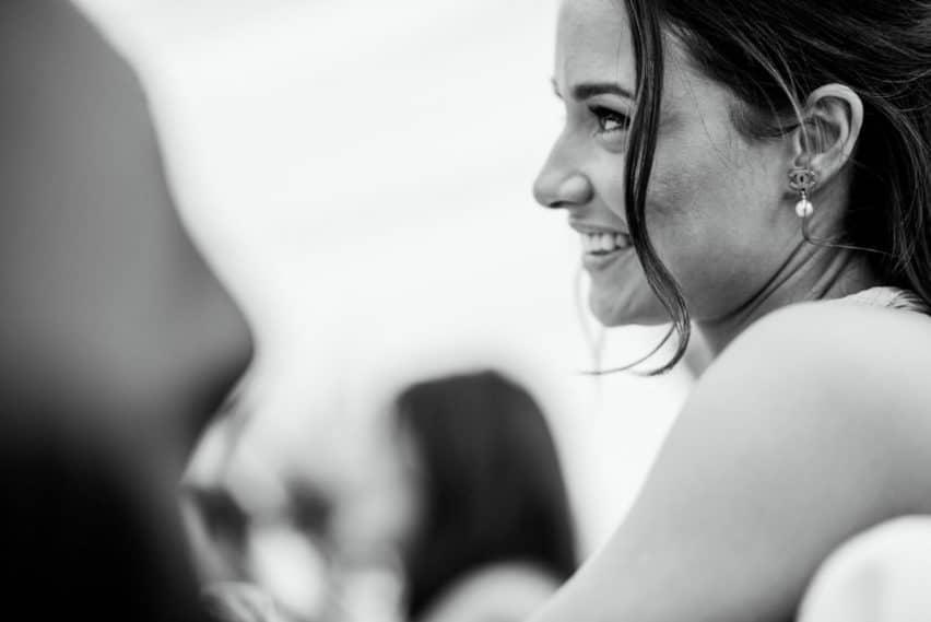 bridesmaid during speeches