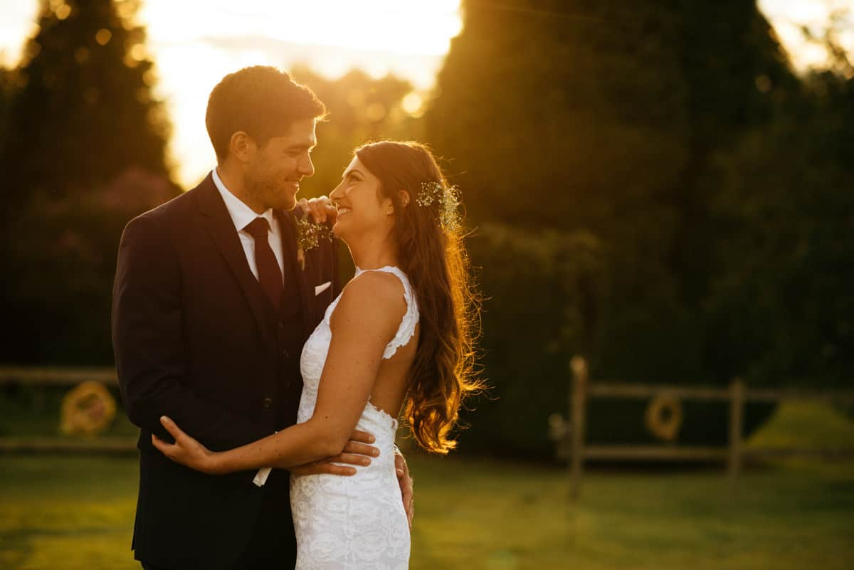 bride and groom portraits during golden hour