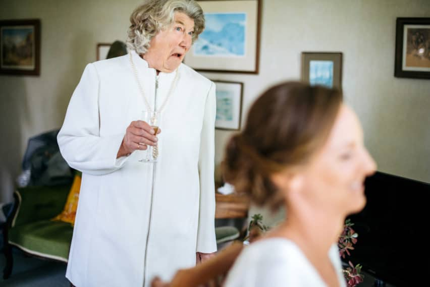 grandmother of bride pulling face