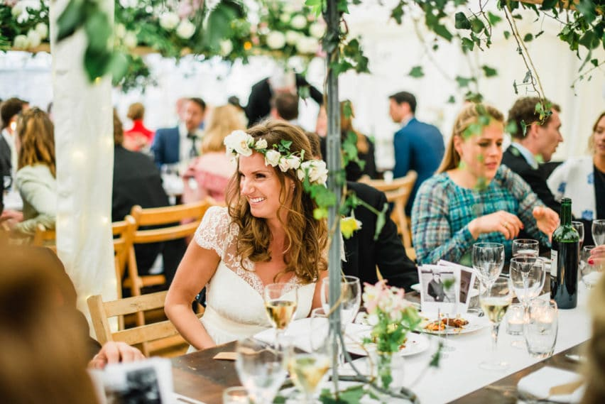 bride in marquee