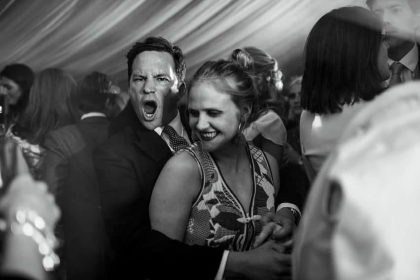 wedding guests on dancefloor