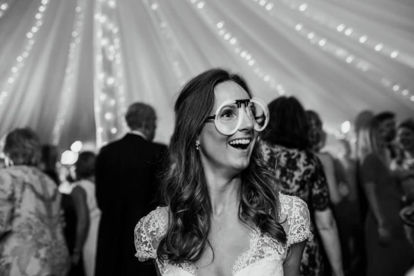 bride with neon glasses on
