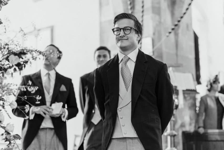 groom waiting in church