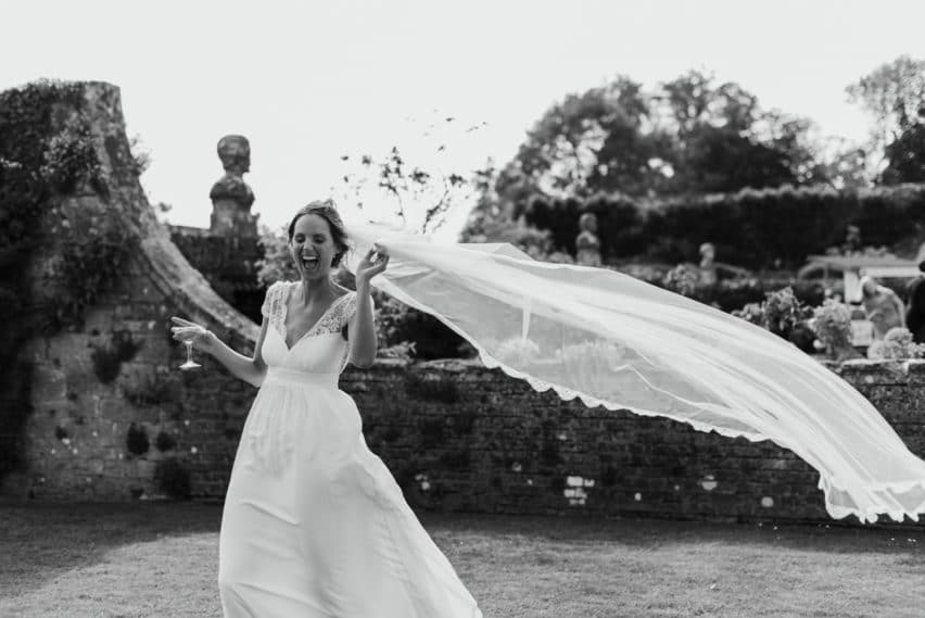 brides veil blowing in wind