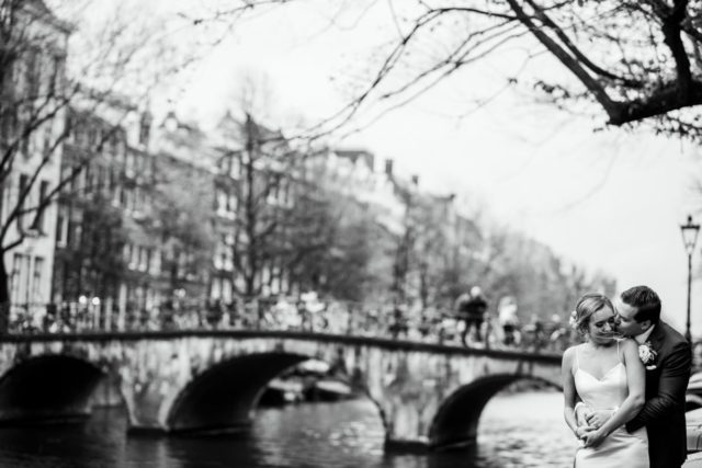 Couple in Amsterdam kissing