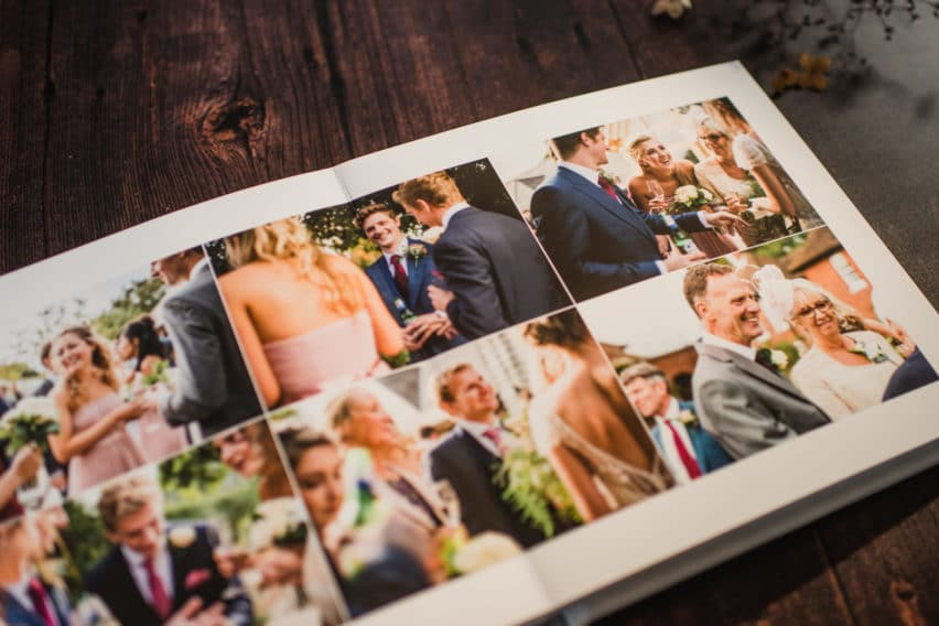 wedding day album with montage of guests