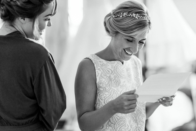 bride reading letter at Chateau de Lacoste France