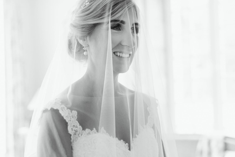 bride with veil at Chateau de Lacoste France