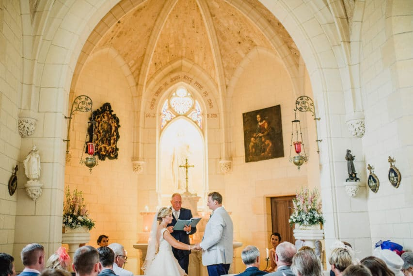 wedding ceremony in chapel at Chateau de Lacoste France