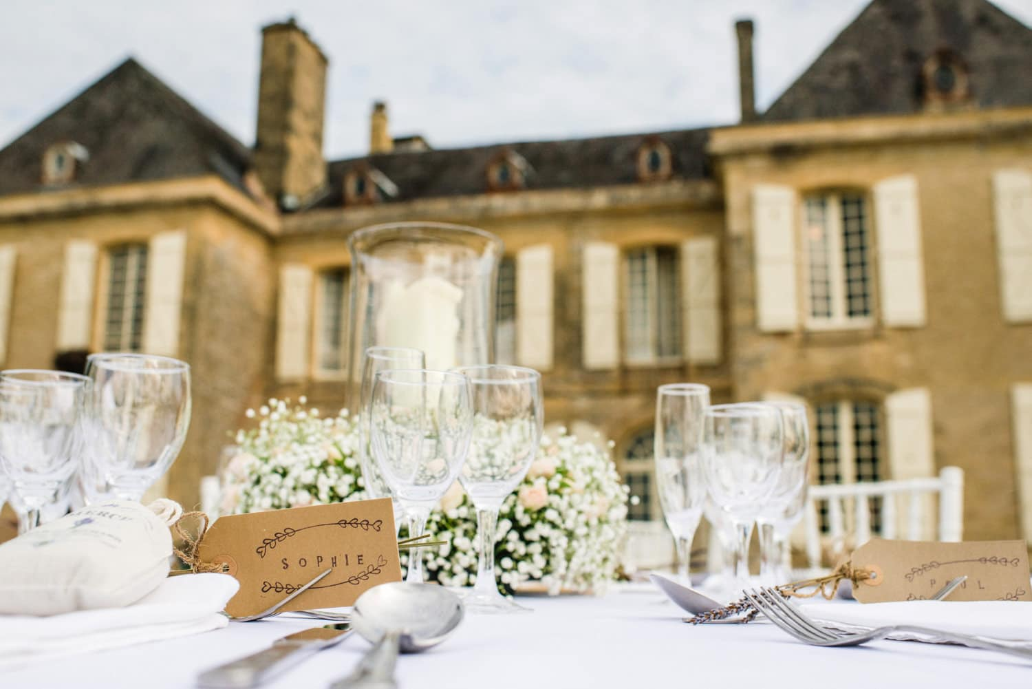 table setting at Chateau de Lacoste France