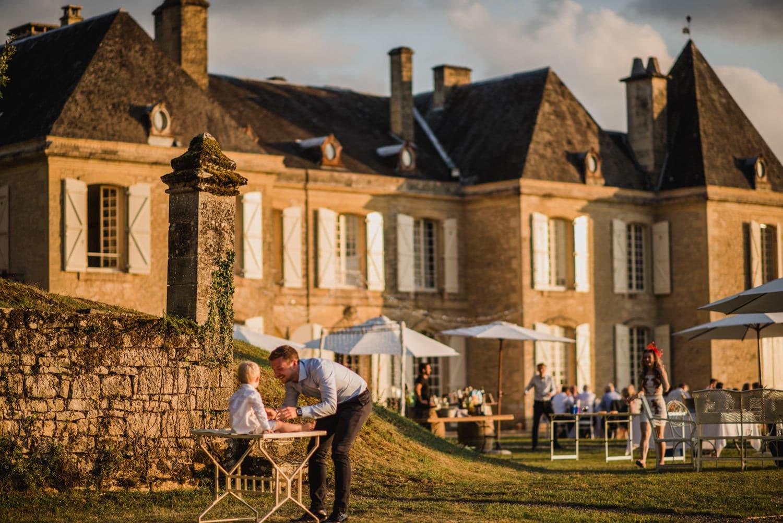 wedding breakfast on the lawn of chateau de Lacoste France