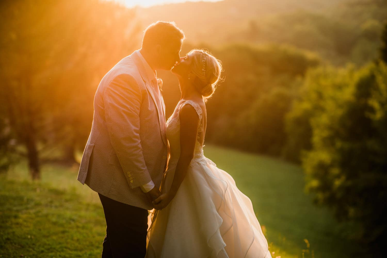 golden hour portraits at chateau de Lacoste wedding