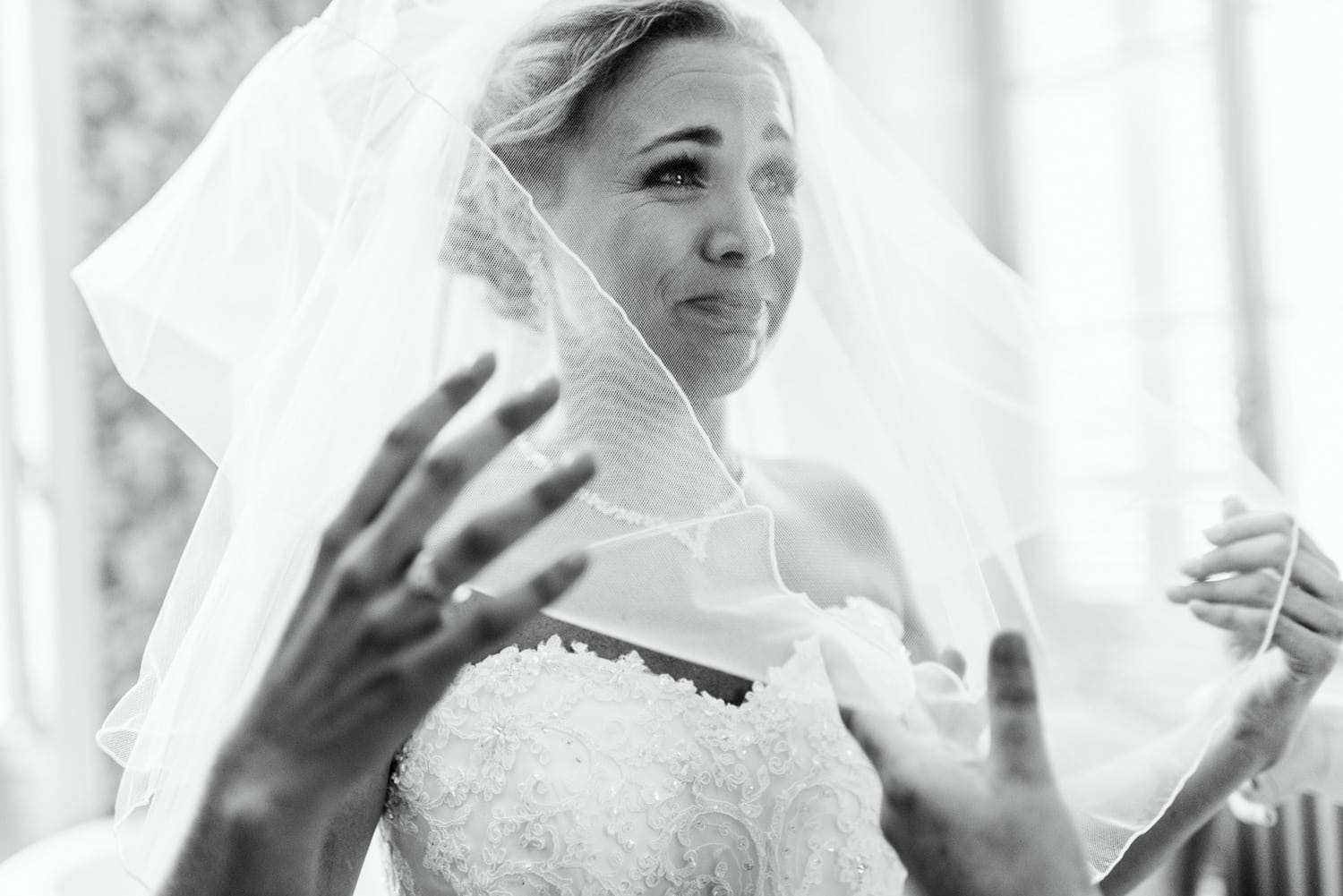 emotional bride under veil