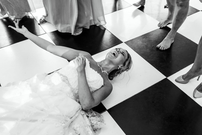 bride low down on dance floor