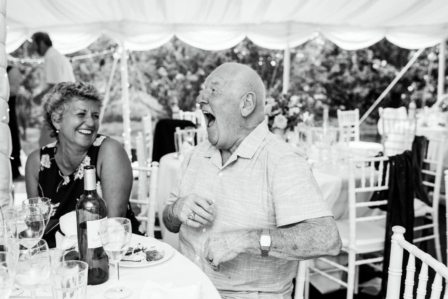 grandad laughing during speeches
