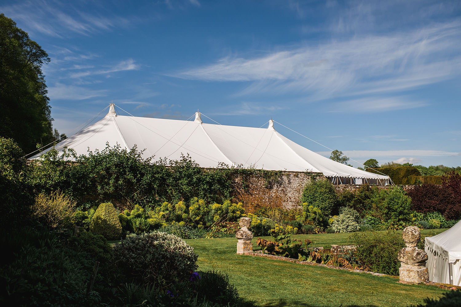 marquee in garden of Hatch House