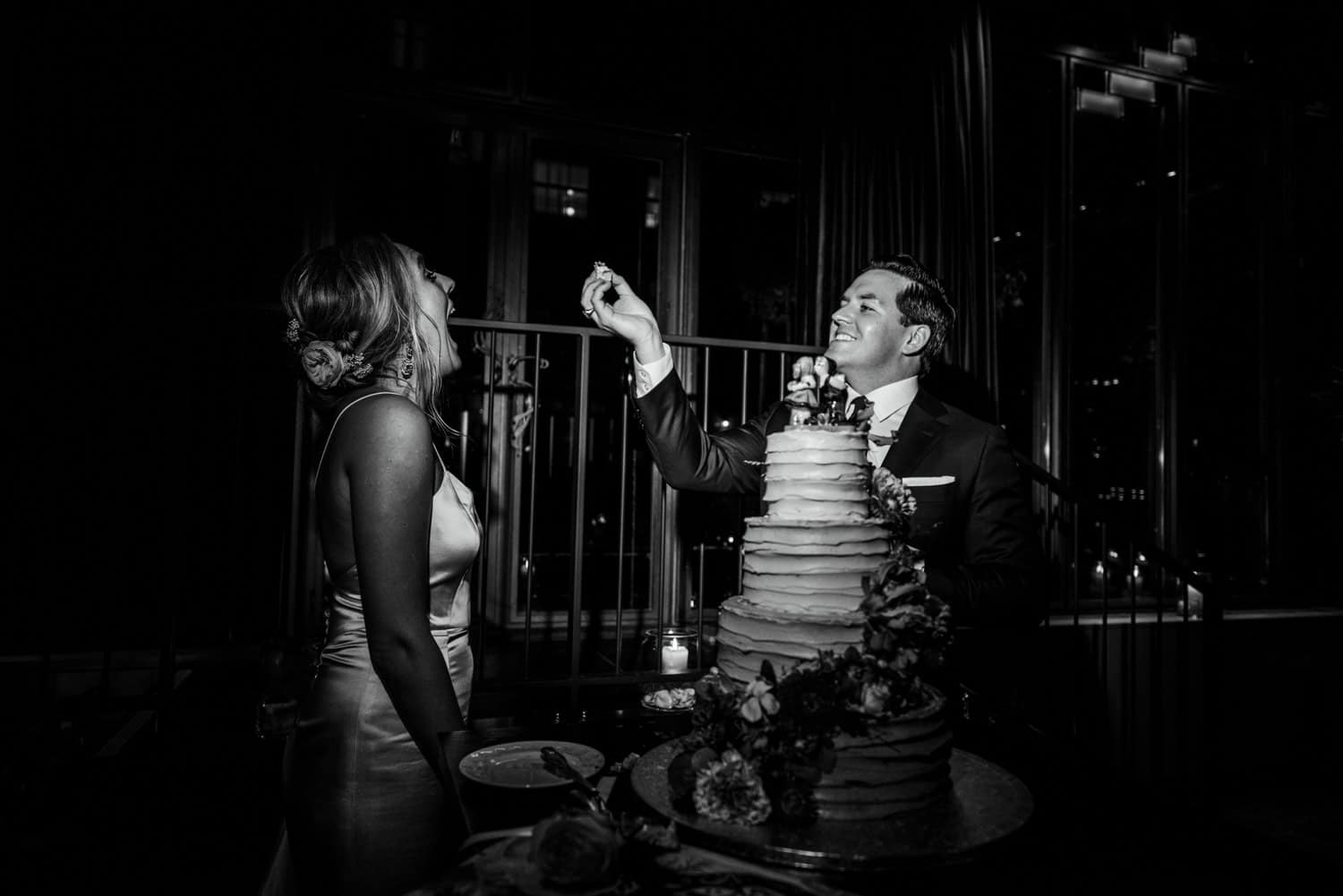 bride and groom just after cutting cake
