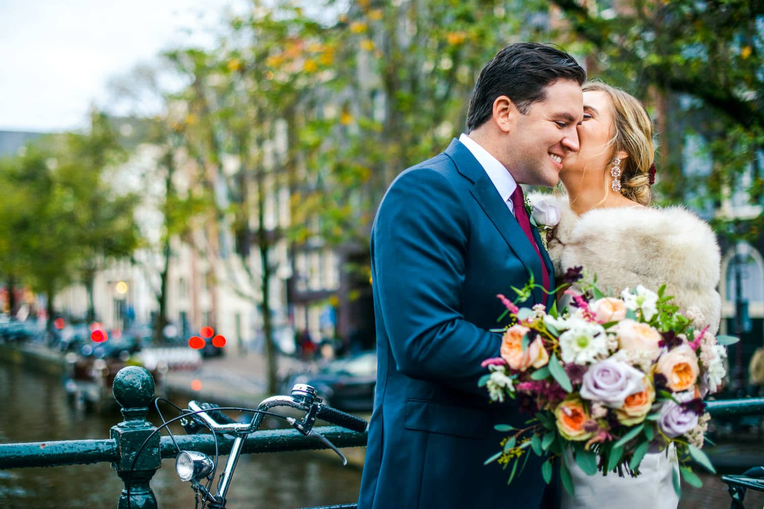 wedding portraits outside Pulitzer Hotel Amsterdam
