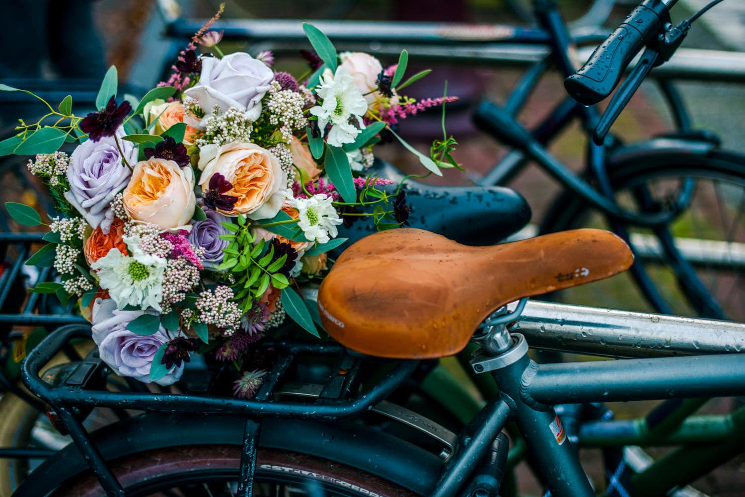wedding bouquet on Amsterdam bikes
