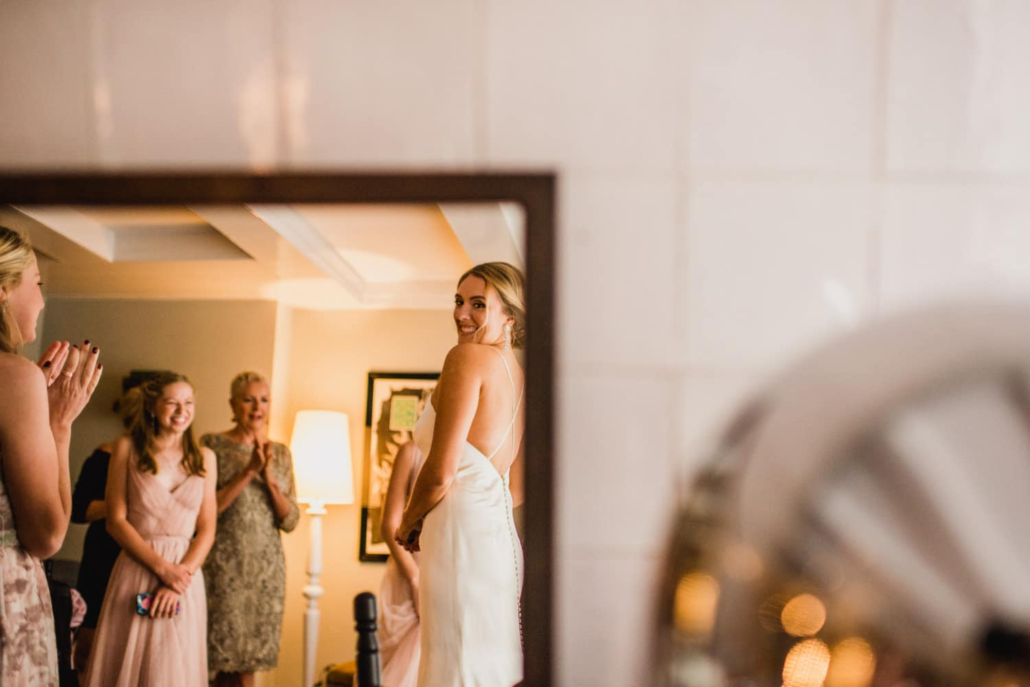 bride in reflection of mirror