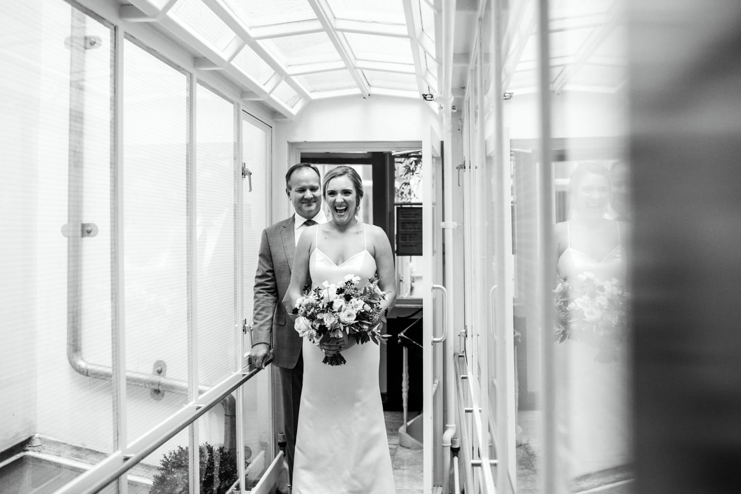 bride and father just before ceremony at Pulitzer Hotel Amsterdam