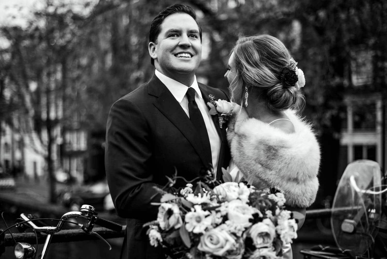 wedding portraits outside Pulitzer Hotel Amsterdam