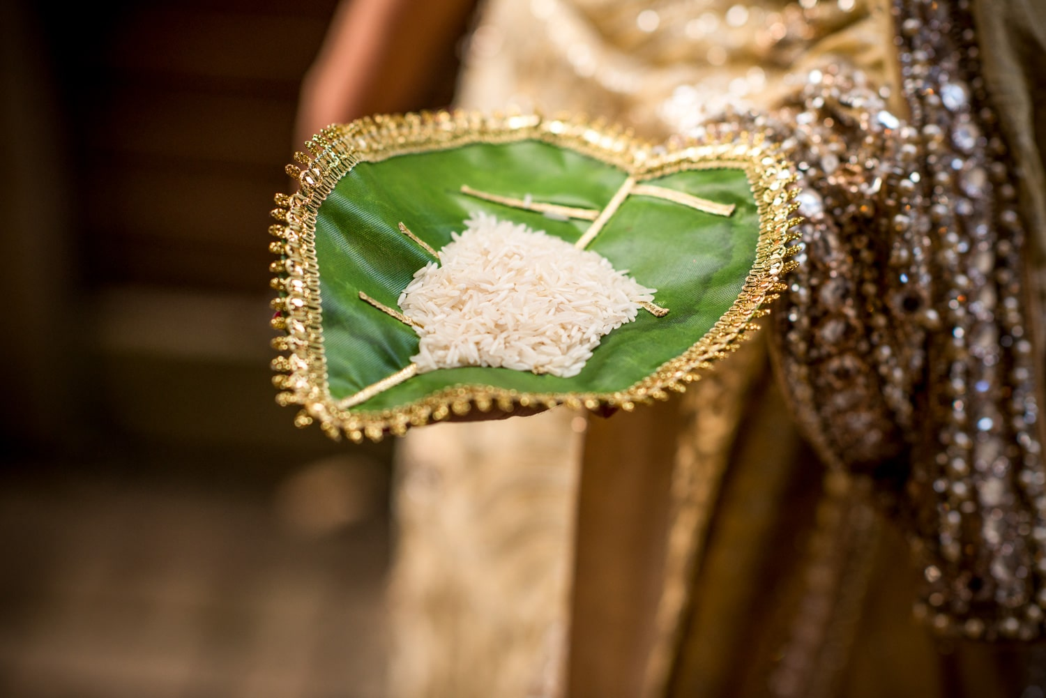 Muslim wedding ritual, rice in leaf