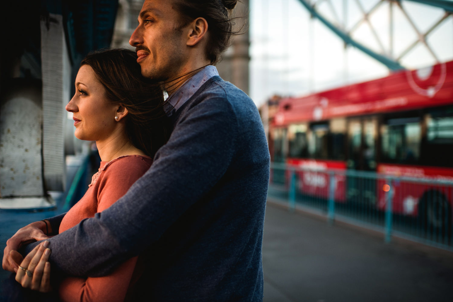 London Engagement Photography - Couple on Tower Bridge