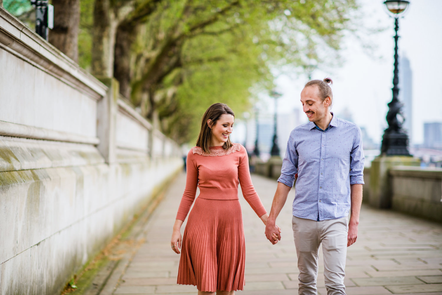 London Engagement Photography - Couple along Southbank