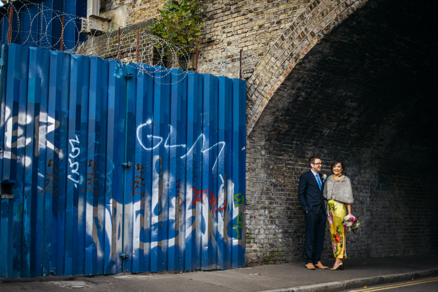 urban wedding portraits - London Fields Brewery