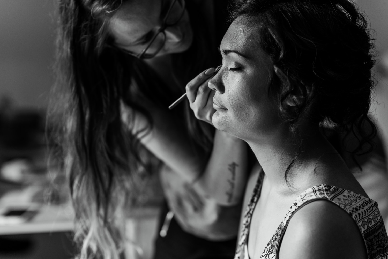 London wedding, bride having makeup applied