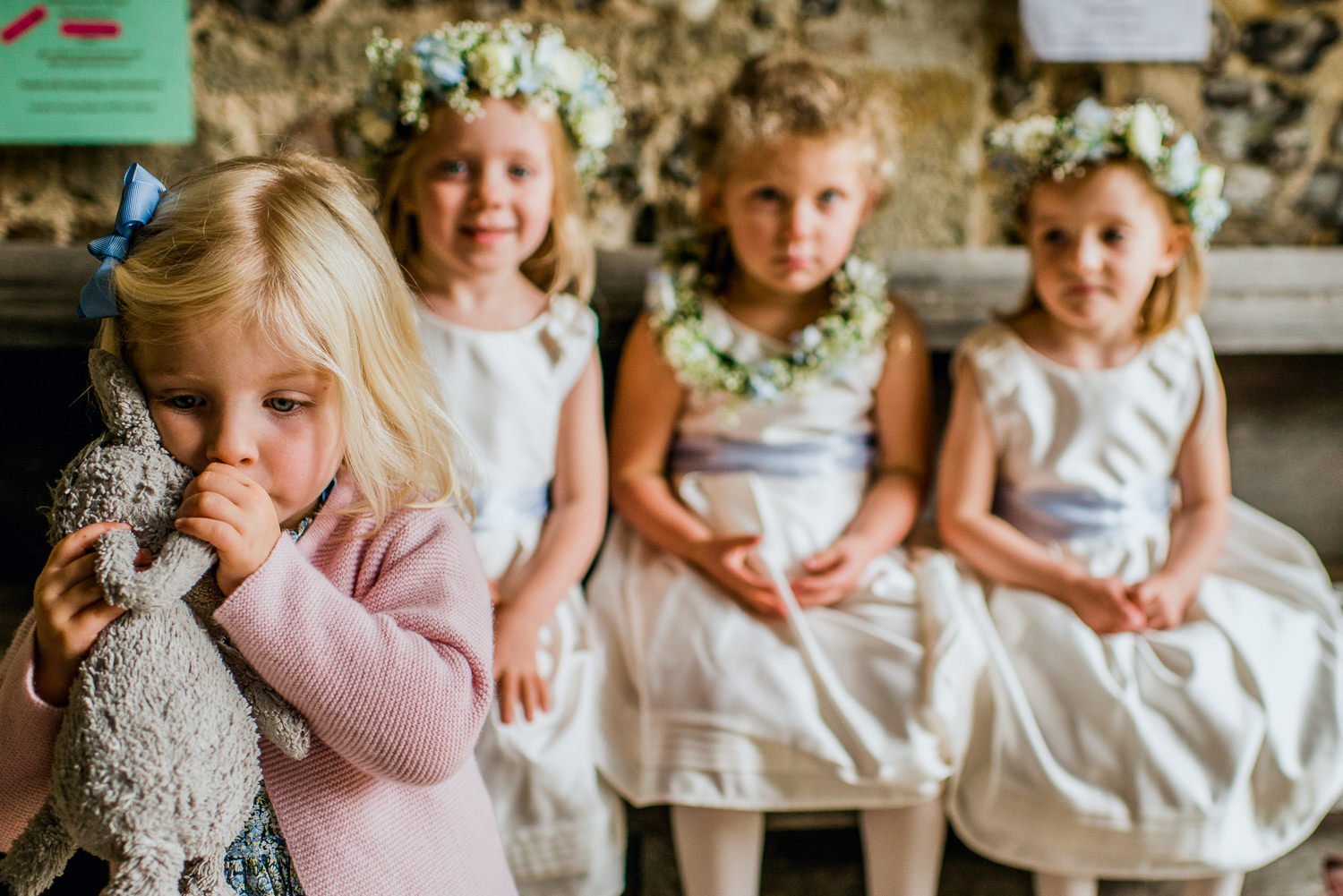 Flower girls at church in Hampshire