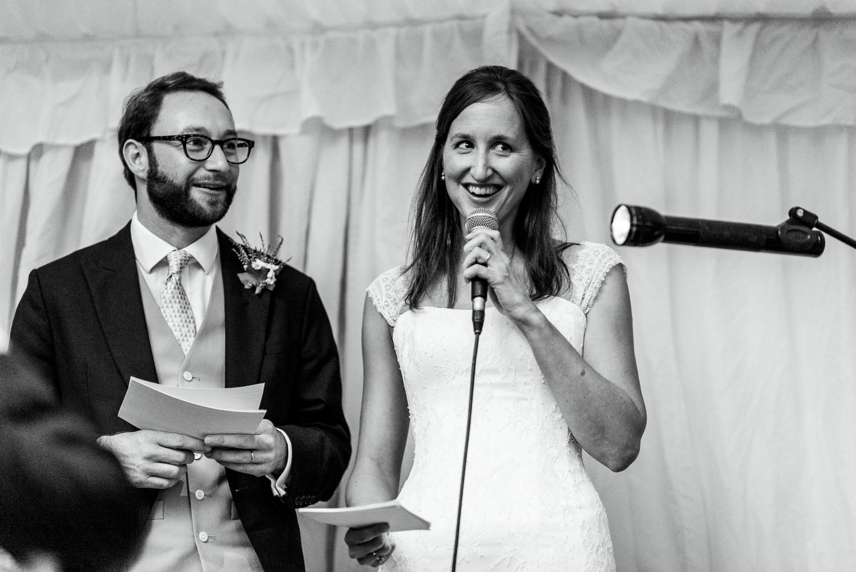 Bride giving a speech at wedding