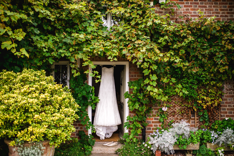 Bridal dress in doorway