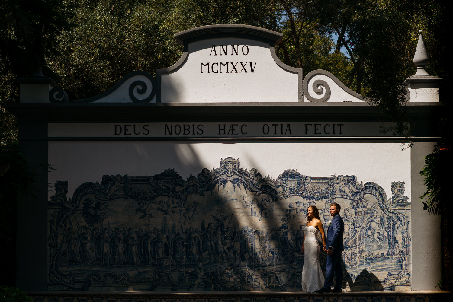 wedding portrait with Portuguese tile backdrop